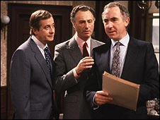 Derek Fowlds, Paul Eddington and Nigel Hawthorne in Yes, Minister