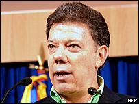 Juan Manuel Santos, ministro de defensa de Colombia.