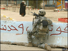 US soldier in Baghdad, Iraq - 2/7/2008