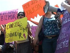 Turkish women protest against the law against exhibitionism, Istanbul, 5/07/08