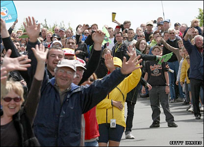 Fans gather at the Tour de France