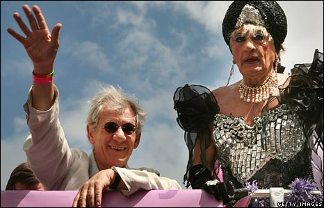 Sir Ian, left, and a friend in drag