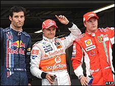 Mark Webber, Heikki Kovalainen and Kimi Raikkonen
