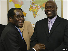 Robert Mugabe and Arthur Mutambara in Harare, 5 July 2008