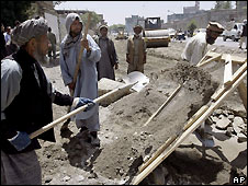 Afghan labourers build a road in Kabul - file pic