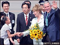 George W. Bush es recibido en Toyako, Japón