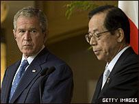 George W. Bush y Yasuo Fukuda en conferencia de prensa