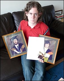 Dafydd Vaughan with pictures of his parents and the univerity's letter