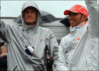 David Coulthard and Lewis Hamilton