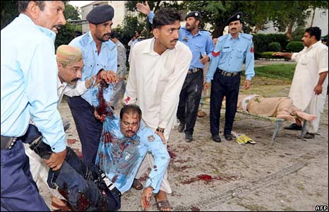 Scene of Islamabad blast 6 July 2008.