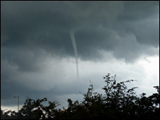 Funnel cloud near Burscough, Lancashire (pic courtesy of Mike Ellison)