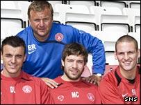 Derek Lyle, Mark Corcoran and Sean Murdoch with Billy Reid
