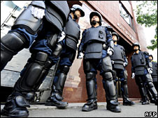 Japanese riot police in Sapporo, 6 July