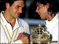 Roger Federer (left) and Rafael Nadal