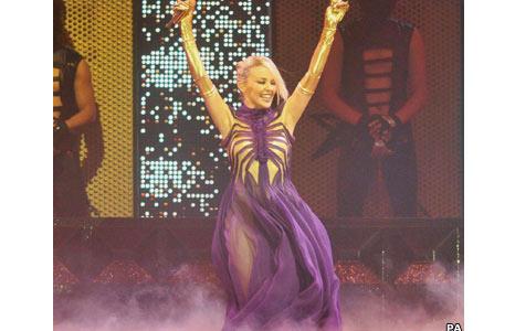Kylie Minogue on stage in Glasgow