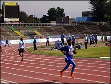 Samiya runs in a stadium in Ethiopia