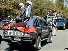 Taliban militia in a pick-up truck in Kabul 26 September 2001