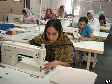 Afghani women sew during training at a vocational training centre of Self Employed Women&quot;s Association (SEWA), a self help group in Ahmadabad, India. 