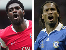Emmanuel Adebayor and Didier Drogba