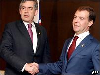 Гордон Браун во время встречи с Дмитрием Медведевым