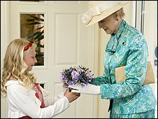 Princess Alexandra receiving posy of flowers: Pic Roseland Parc