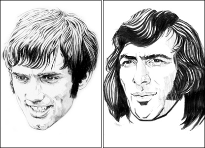 George Best (left) was Trevillion's favourite, while legendary goalkeeper Pat Jennings appeared for the artist's beloved Tottenham