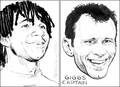 Ruud Gullit and Ryan Giggs by Paul Trevillion
