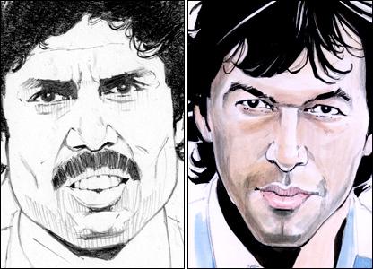 Kapil Dev and Imran Khan by Paul Trevillion