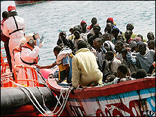 Boatload of African migrants off Canary Islands
