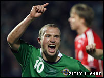 Warren Feeney in action for Northern Ireland