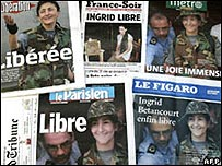 Portadas de diarios franceses con la noticia del rescate de Betancourt