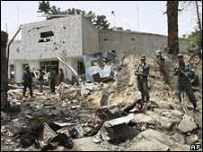 Rescue and security forces at the scene of the Indian embassy blast in Kabul