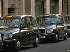 London cabs waiting at rank
