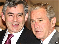 Gordon Brown and George Bush at the G8 summit