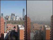 Beijing pollution (good day, left, bad day, right)