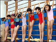 Young Chinese gymnasts at the Shichahai Sports School