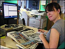 Helen looks through the day's news stories