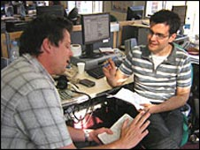 Editor Toby (left) briefs Iain on a cyber bullying story