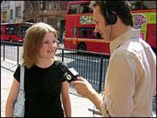 Chris does a vox pop - interviewing 13-year-old Esther