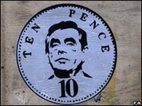 Arte urbano, el primer ministro británico Gordon Brown en una obra de Banksy