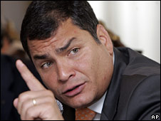 President Rafael Correa in a file photo from April 2008