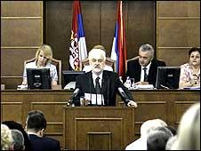 Prime Minister Mirko Cvetkovic addressing MPs on 7 July 2008