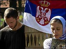 Serbs attending a service at Gracanica monastery in Kosovo on 28 June 2008.
