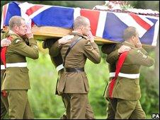 Sgt Major Williams's coffin