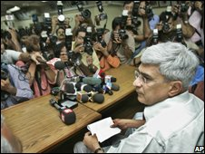 Communist Party of India (Marxist) leader Prakash Karat sits for a media briefing in Delhi