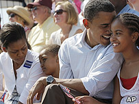 Barack Obama, wife Michelle and kids Sasha and Malia