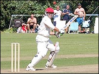 Jersey cricketers in action