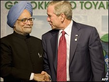 Manmohan Singh and George Bush