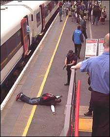 Bournemouth train station arrest (pic: BNPS)