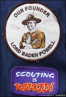 A scout's badges - one of the founder, Lord Baden-Powell, the other reads 'Scouting is wicked'